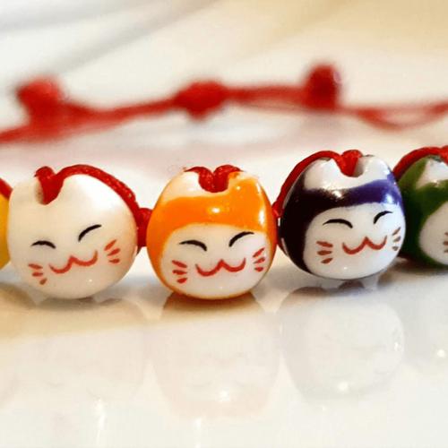 """Bracelet japonais de chance porte bonheur """"Maneki-neko"""" [tag]"""
