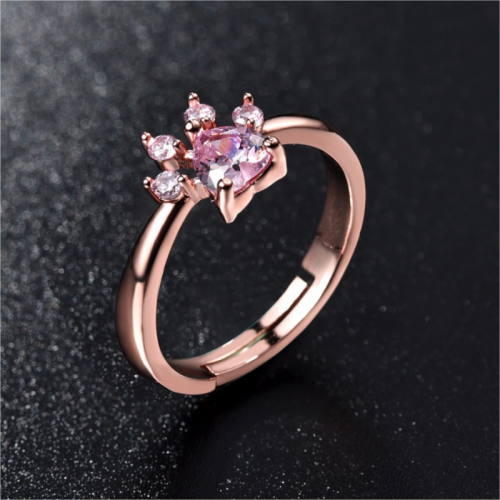 Bague patte de chat éclat de rose sublime [tag]